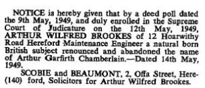 Recorded in The Gazette (London Gazette). Issue 38614. P. 2439. 17 May 1949.